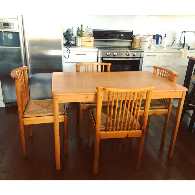 Contemporary 1960s Vintage Dining Table & 4 Pine Spindle Back and Rush Chairs - 5 Pieces For Sale - Image 3 of 11