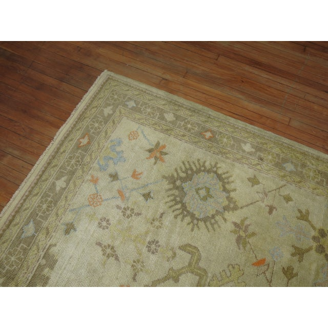 Square Antique Ivory Field Oushak Rug, 7'5'' X 9' For Sale - Image 4 of 9