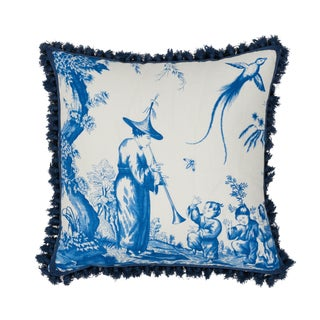 Contemporary Schumacher Shengyou Toile Pillow in Blue For Sale