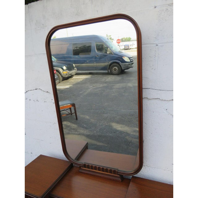 Art Deco Walnut Set of Vanity Writing Desk With Mirror and Chair For Sale In Miami - Image 6 of 11