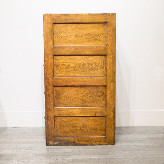 Industrial 4 Drawer Oak File Cabinet C.1930 For Sale - Image 3 of 11