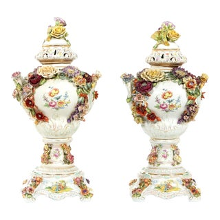 German Porcelain Covered Urn / Centerpieces - a Pair For Sale
