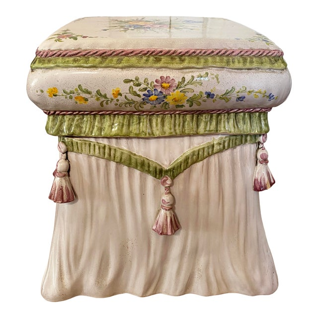 Italian Hand Painted Terracotta Garden Stool For Sale