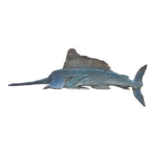 Hand-Carved Wall Sculpture of a Blue Marlin by Artist Davis Murphy 2018 For Sale