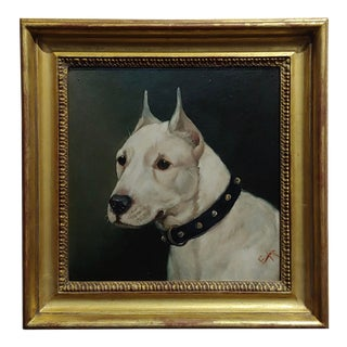 Edward Airstrop -Portrait of a Bull Terrier-English Oil Painting C.1900s For Sale