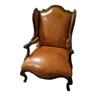 1980s Vintage Louis XV Leather Club Chair For Sale