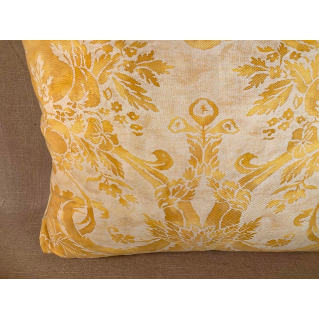 Traditional Vintage Yellow Fortuny Pillow For Sale - Image 3 of 6