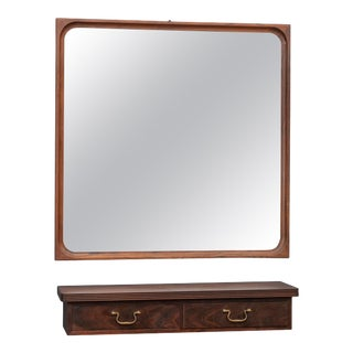 Danish Rosewood Wall Mirror and Matching Shelf For Sale