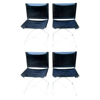 Set of 4 Maison Jansen Campaign Style Chairs For Sale