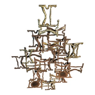 C. 1950 Abstract Molton Bronze & Iron Brutalist Art Sculpture For Sale