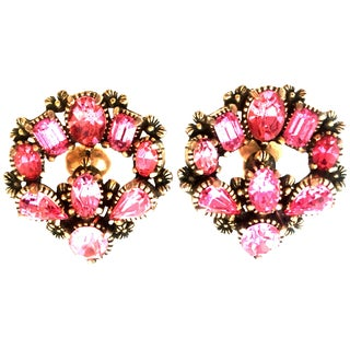 1950's Pair of Gold & Austrian Crystal Earrings By, Hollycraft For Sale