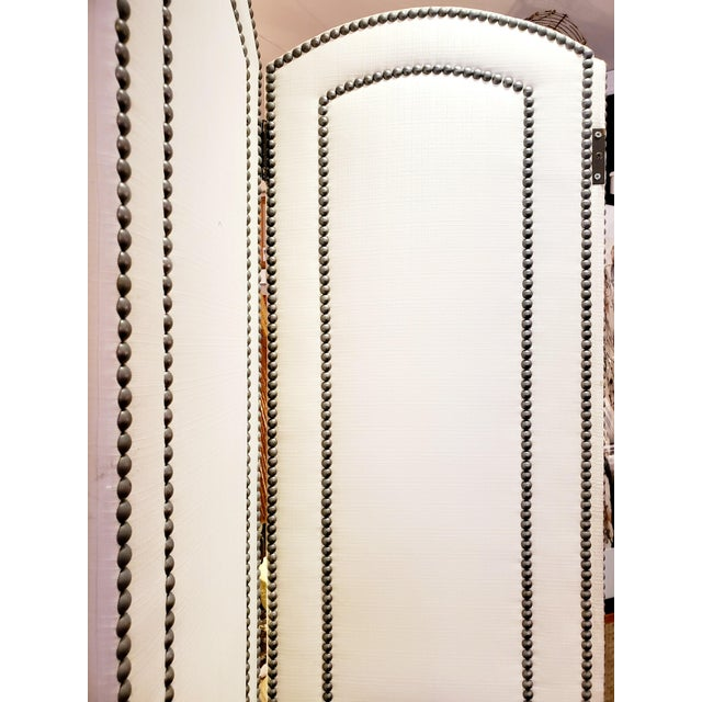 Contemporary Upholstered 4 Panel Screen With Nailheads For Sale - Image 3 of 11