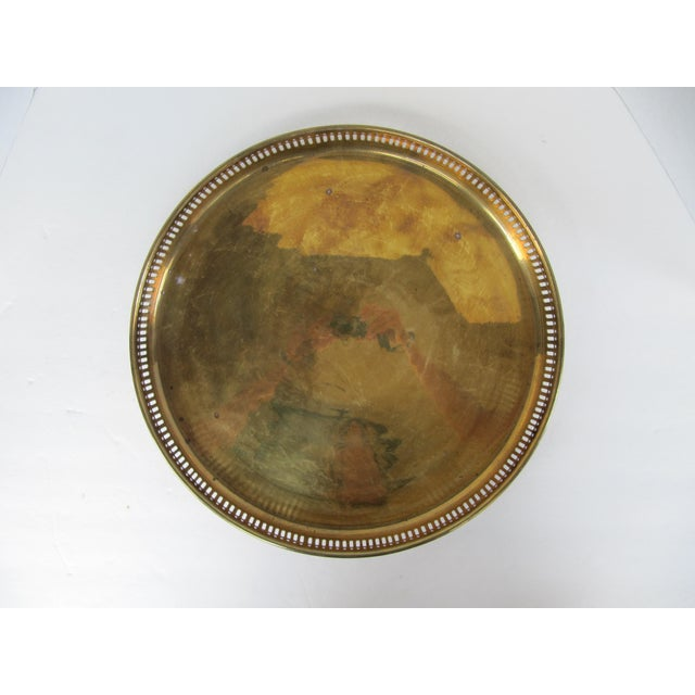 Traditional Large Round Vintage Brass Tray For Sale - Image 3 of 8