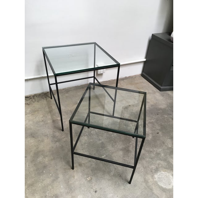 Metal 1950s Mid Century Modern Black Iron Frame & Glass Top Nesting Tables - 2 Pieces For Sale - Image 7 of 13