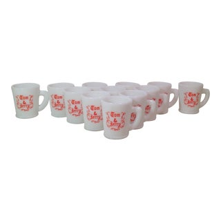 Holiday Tom & Jerry Milk Glass Mugs - Set of 12