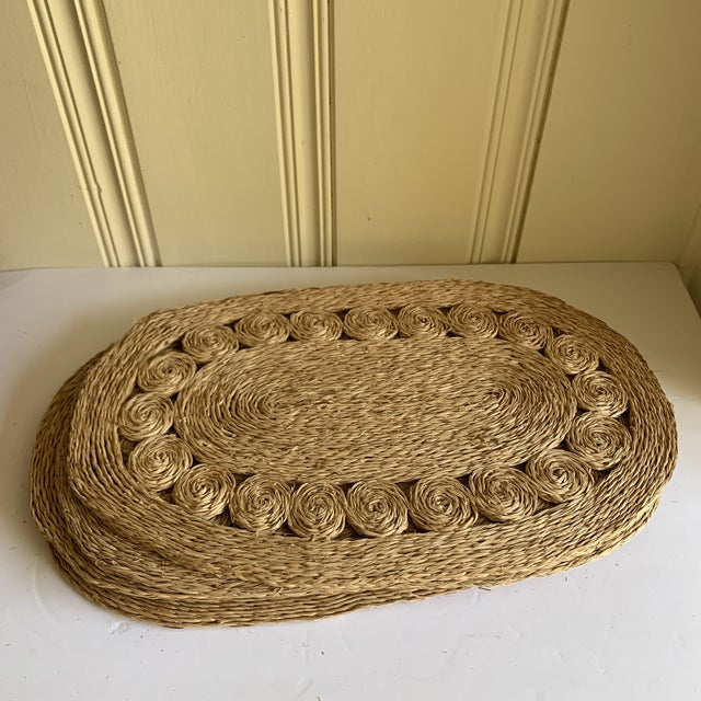 Tiki time placemats with natural woven sea grass or raffia. Loopy design pattern. Set of five. Perfect for indoor or...