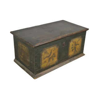 Antique 19th Century Paint Decorated Folk Art Blanket Chest For Sale