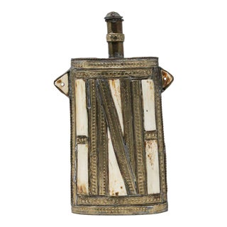 Moroccan Berber Metal Tribal Flask with Bone Inlay For Sale