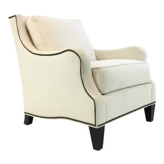 Thomasville Transitional White Natural Cotton Club Chair For Sale