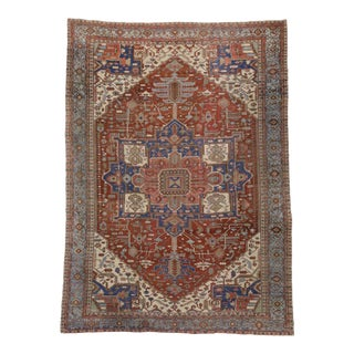 Late 19th Century Antique Persian Serapi Rug With Modern Design, 13'08 X 19'00