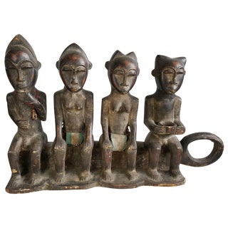 African Ceremonial Four-Figure Carved Wood Sculpture For Sale