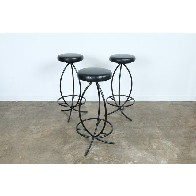 Wrought Iron Leather Seat Bar Stools - Set of 3 - Image 10 of 11