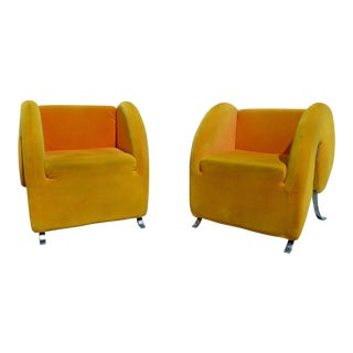 "Postmodern ""Comma or Apostrophe"" Club Chairs - A Pair For Sale"