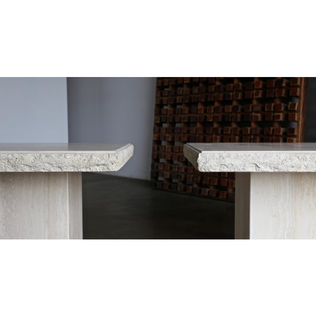 1980s 1980s Vintage Travertine Side Tables- A Pair For Sale - Image 5 of 13