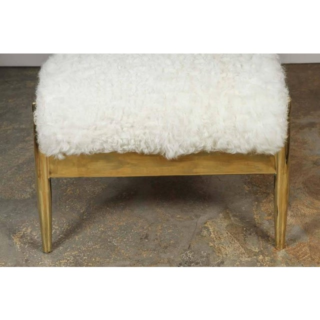 Paul Marra Slipper Chair in Brass with Curly Goat - Image 6 of 7