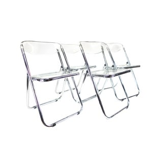 Mid-Century Modern Italian Lucite & Chrome Chairs - Set of 4 For Sale