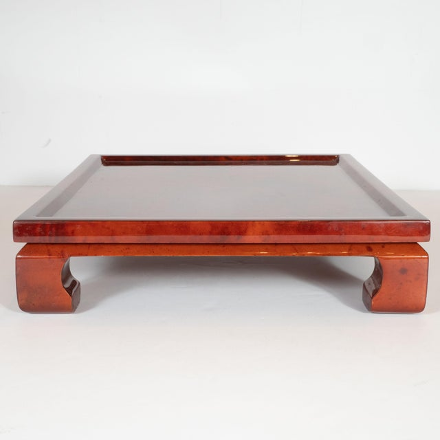 1980s Enrique Garcel Mid-Century Modern Lacquered Goatskin Pagoda Style Bar Tray For Sale - Image 5 of 10