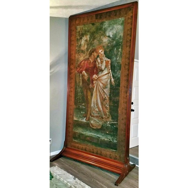 Pair of Monumental Framed Italian 18c Painted Tapestries For Sale - Image 4 of 13