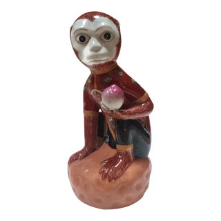 1980s Vintage Porcelain Chinoiserie Monkey Figurine For Sale