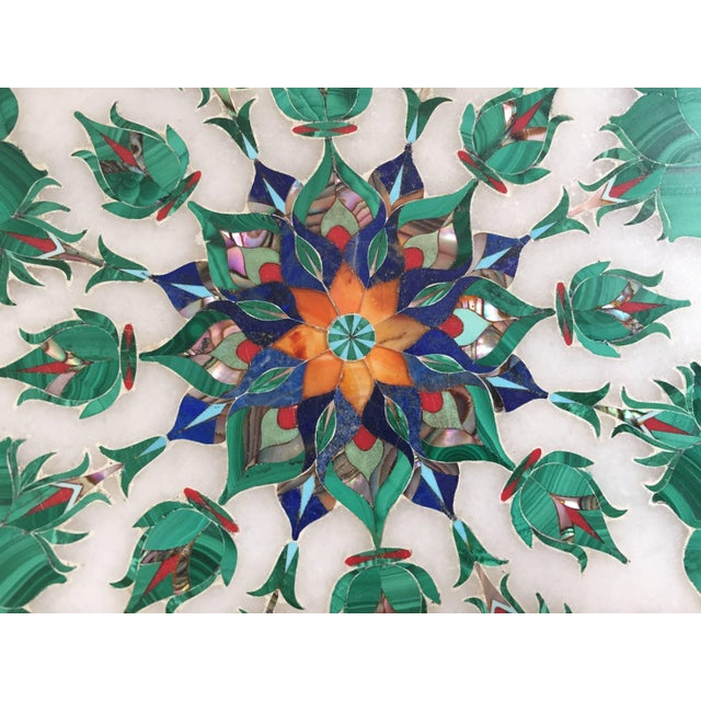 Pietra Dura Marble-Topped Octagonal Table Inlaid in Taj Mahal Anglo Raj Style For Sale - Image 11 of 13