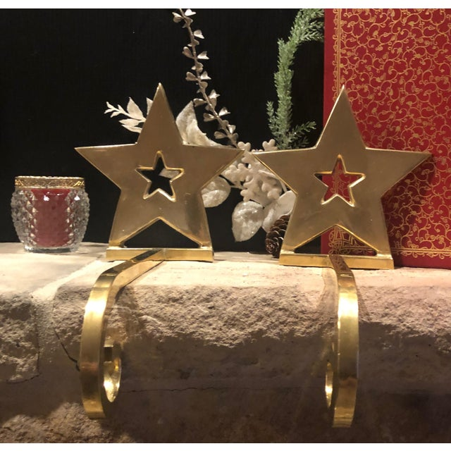 Vintage Brass Christmas Holiday Star Stocking Hooks - Set of 2 For Sale - Image 4 of 13