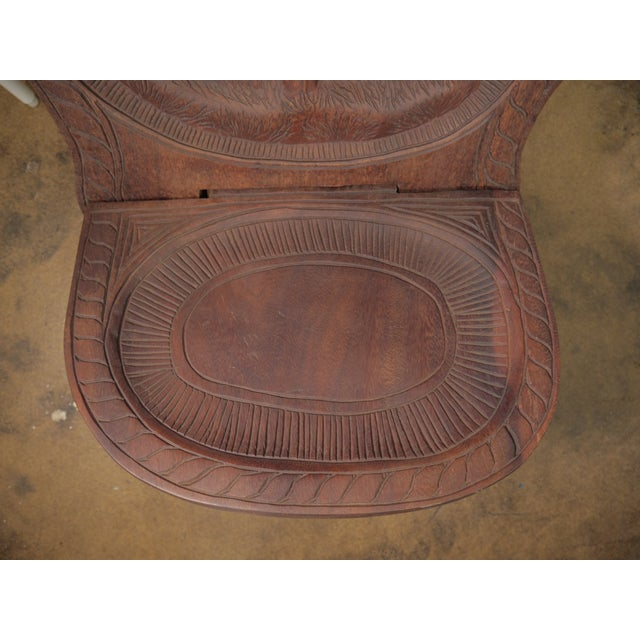 Mahogany 20th Century African Mahogany Bantu Carved Tribal Chief Chairs - a Pair For Sale - Image 7 of 10