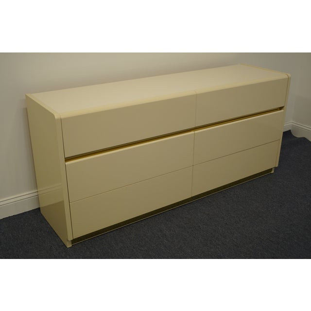 Contemporary Lane Furniture Contemporary Cream/Off White Lacquered Double Dresser For Sale - Image 3 of 13