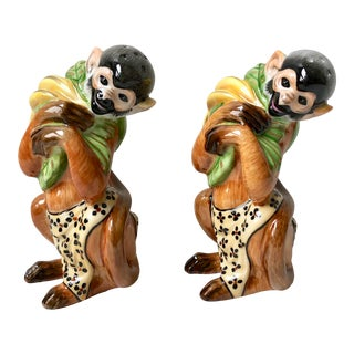 1990s Hollohaza Hand Painted Monkey Salt and Pepper Shakers - a Pair For Sale