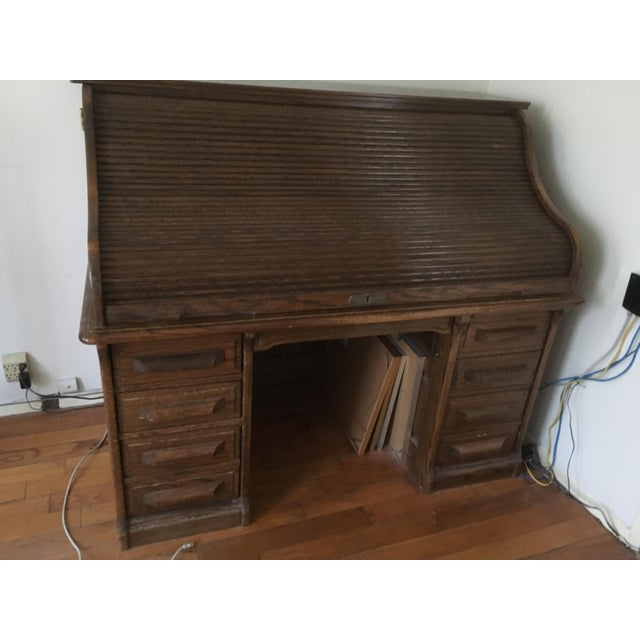 Country Vintage Jefferson Rolltop Desk For Sale - Image 3 of 10