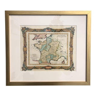 1764 Antique Rizzi-Zannoni Map of France in Custom Brushed Gold Frame For Sale