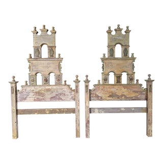 Antique Mexican Hand-Carved Wood Twin Headboards - A Pair For Sale