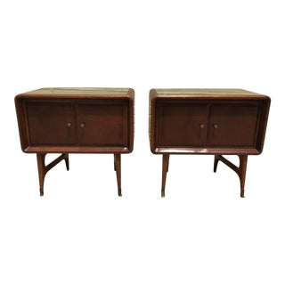 1960s Italian Style Wooden Nightstands - a Pair