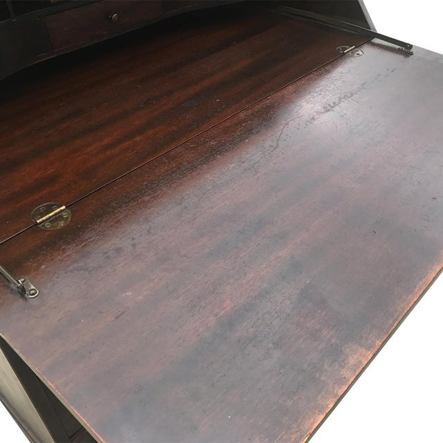Antique Chippendale Style Governor Winthrop Block Drop Front Secretary Desk For Sale - Image 6 of 9
