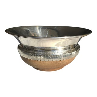 1980s Arts and Crafts Sterling Silver and Wood Bowl by Alfred E Jones For Sale
