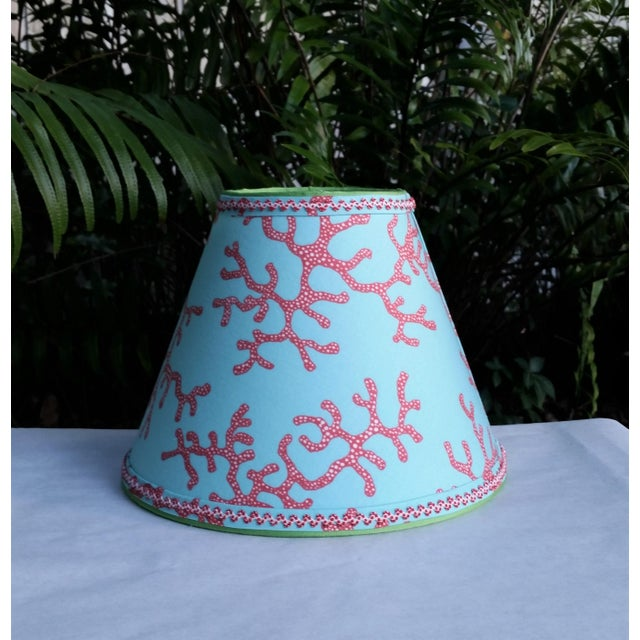 Lilly Pulitzer Fabric Lampshade Blue Red Clip On For Sale In West Palm - Image 6 of 11