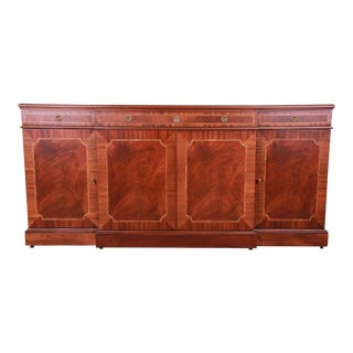 Karges Chippendale Inlaid Mahogany Breakfront Sideboard Credenza or Bar Cabinet, Newly Restored For Sale