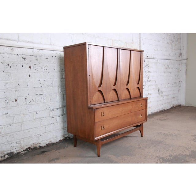 Danish Modern Broyhill Brasilia Mid-Century Modern Sculpted Walnut Gentleman's Chest For Sale - Image 3 of 13