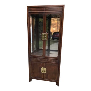 Henredon Foilio 16 Chinoiserie Walnut Lacquered Gated Cabinet For Sale