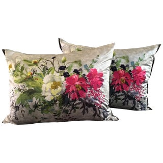Pair of Fuchsia on Silver Embroidered Sateen Floral Throw Pillows For Sale