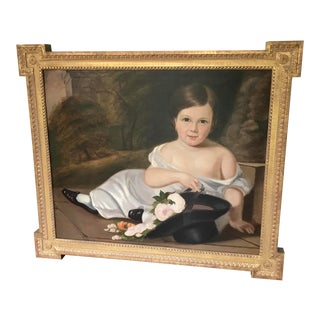 Framed Original Oil Painting of Little Girl With Rose For Sale